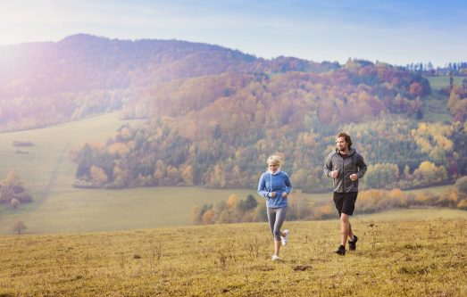 running in countryside